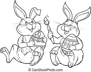 Two rabbits paint the easter egg