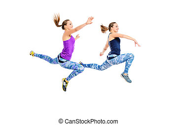 running - Two girls athletes running fast. Concept of...