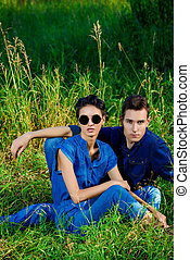 independence - Attractive young couple wearing jeans clothes...