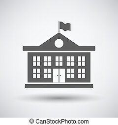 School building icon on gray background with round shadow....