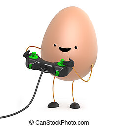 3d Cute toy egg plays a videogame - 3d render of a cute toy...