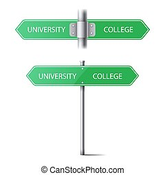 set of green road signs on a pole direction. the choice between the university and the college