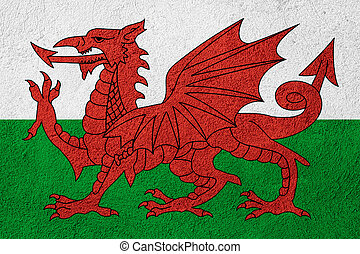 flag of Wales or Welsh banner on stone background