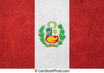 flag of Peru or Peruvian banner on rough pattern background