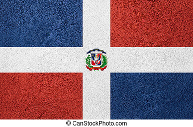 flag of Dominican Republic or banner on rough pattern...