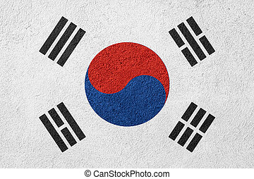 flag of South Korea or banner on rough pattern background