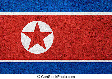 flag of North Korea or banner on rough pattern background
