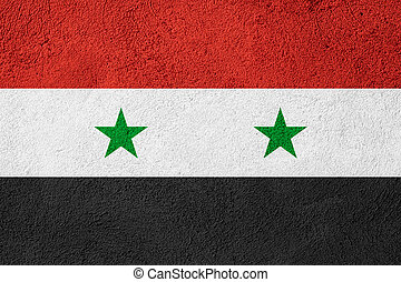flag of Syria or Syrian banner on rough pattern background