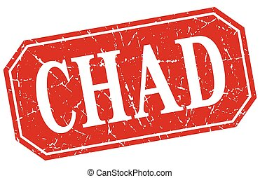 Chad red square grunge retro style sign