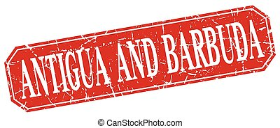 Antigua And Barbuda red square grunge retro style sign