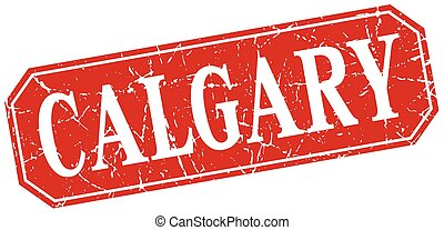 Calgary red square grunge retro style sign