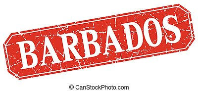 Barbados red square grunge retro style sign