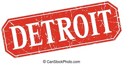 Detroit red square grunge retro style sign