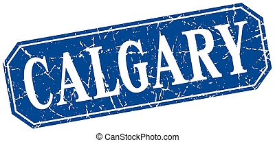 Calgary blue square grunge retro style sign