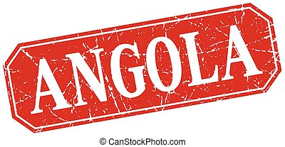 Angola red square grunge retro style sign