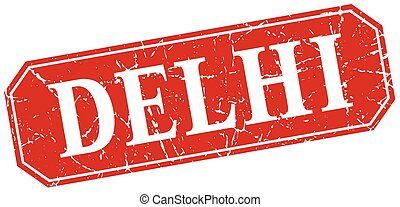 Delhi red square grunge retro style sign