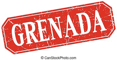 Grenada red square grunge retro style sign