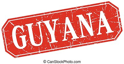 Guyana red square grunge retro style sign