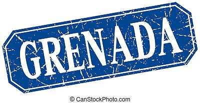 Grenada blue square grunge retro style sign