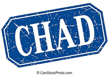 Chad blue square grunge retro style sign