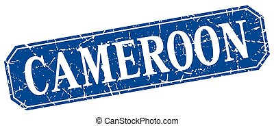 Cameroon blue square grunge retro style sign