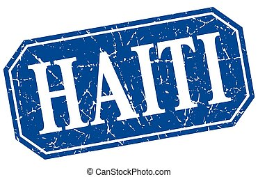 Haiti blue square grunge retro style sign