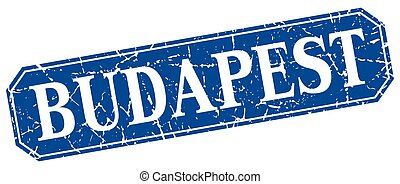 Budapest blue square grunge retro style sign