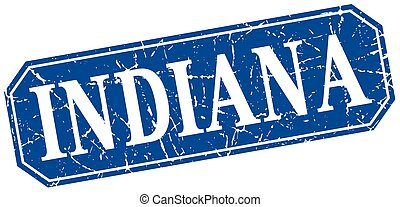 Indiana blue square grunge retro style sign