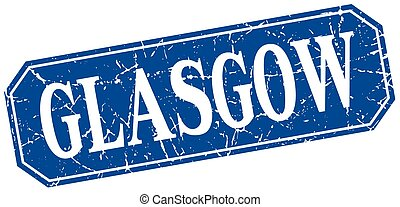 Glasgow blue square grunge retro style sign