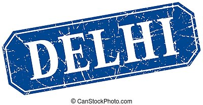 Delhi blue square grunge retro style sign