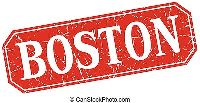 Boston red square grunge retro style sign
