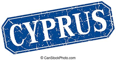Cyprus blue square grunge retro style sign