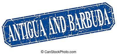 Antigua And Barbuda blue square grunge retro style sign
