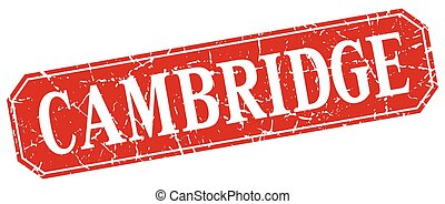 Cambridge red square grunge retro style sign