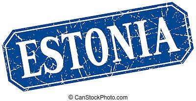 Estonia blue square grunge retro style sign