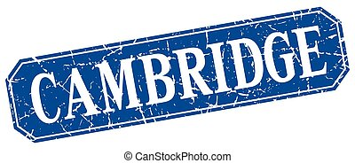 Cambridge blue square grunge retro style sign