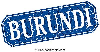 Burundi blue square grunge retro style sign