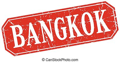 Bangkok red square grunge retro style sign