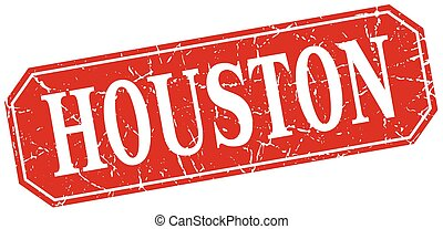 Houston red square grunge retro style sign