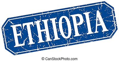 Ethiopia blue square grunge retro style sign