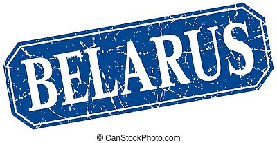 Belarus blue square grunge retro style sign