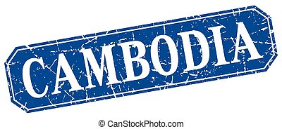 Cambodia blue square grunge retro style sign