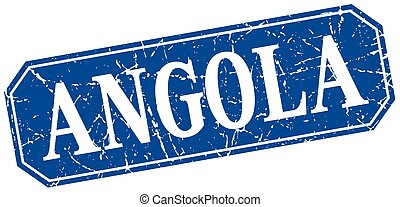 Angola blue square grunge retro style sign