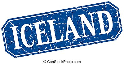 Iceland blue square grunge retro style sign