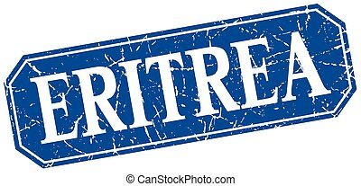 Eritrea blue square grunge retro style sign