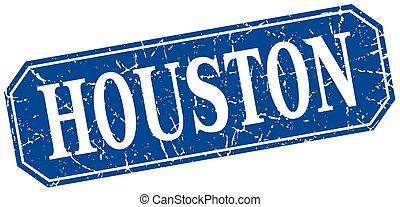 Houston blue square grunge retro style sign
