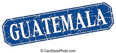 Guatemala blue square grunge retro style sign
