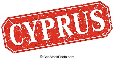 Cyprus red square grunge retro style sign