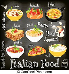 Italian Food Menu Card with Traditional Meal on Chalkboard...