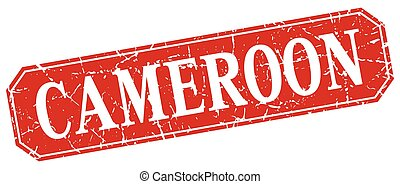 Cameroon red square grunge retro style sign